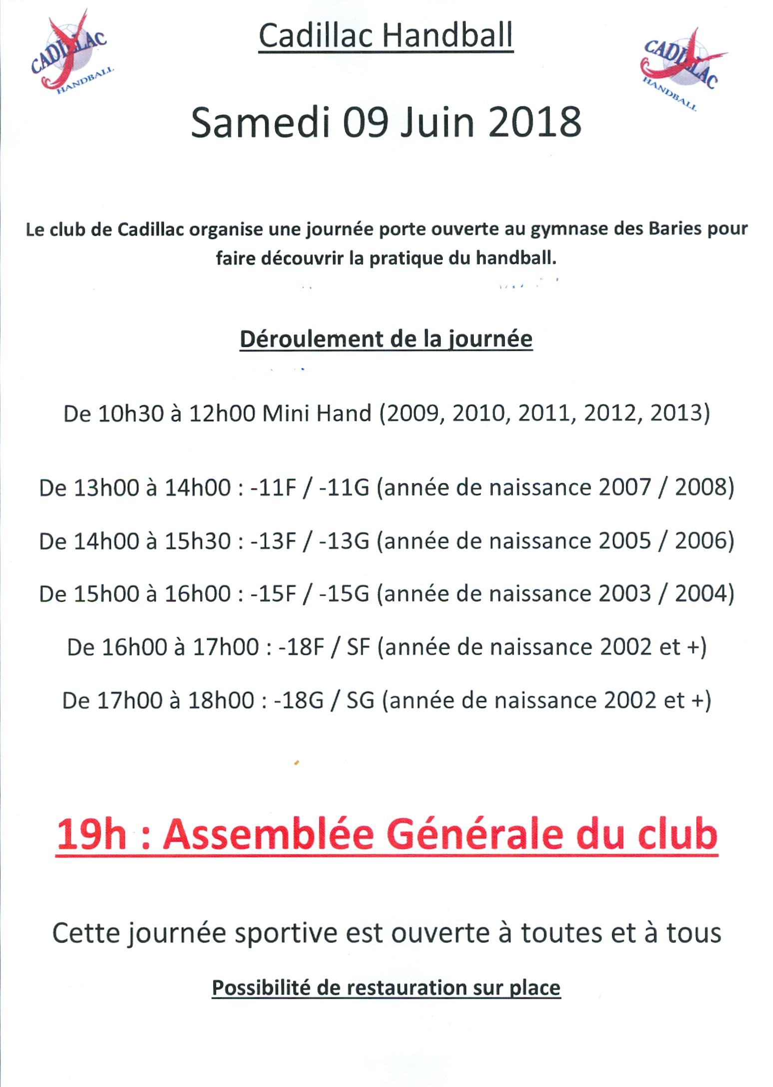 Journée Portes-Ouvertes et Assemblée Générale @ Salle des baries | Cadillac | Nouvelle-Aquitaine | France
