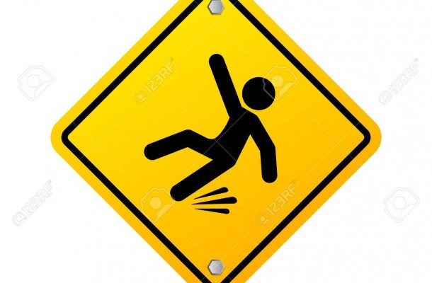 Slippery wet floor warning sign