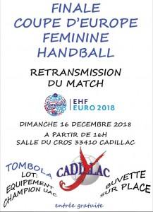 RETRANSMISSION FINALE COUPE D'EUROPE FEMININE @ Salle du Cros | Cadillac | Nouvelle-Aquitaine | France